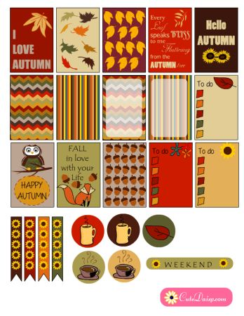 FREE Printable Fall themed Happy Planner Stickers by Cutedaisy