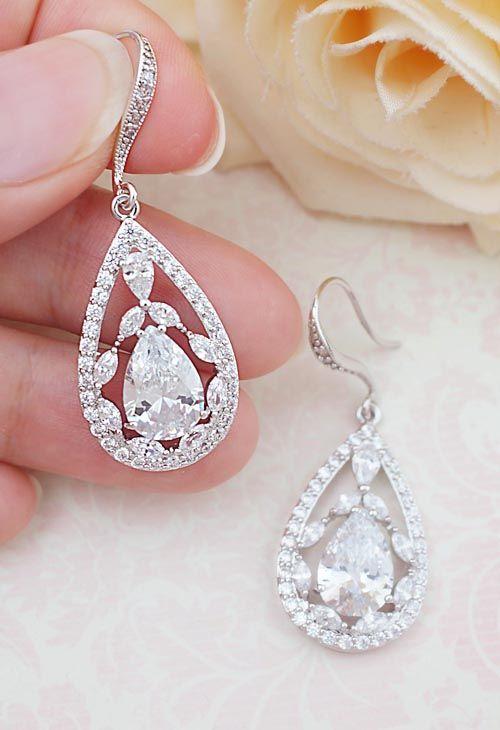 Luxury Cubic Zirconia floral style Bridal Drop Earrings from EarringsNation