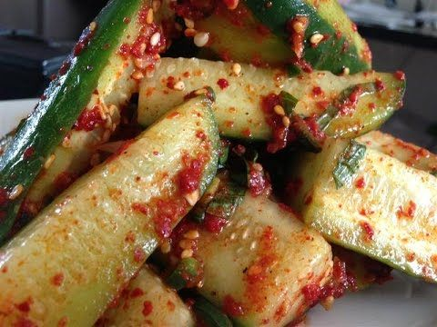 "https://youtu.be/H-nKm2dbT4k ""Spicy Korean Cucumber Salad Recipe"" ""Oi Muchim 오이 무침"" ""Korean Recipes"" cucumber, salad, purple onion, garlic, sesame seeds, ses..."