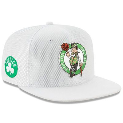 Men's Boston Celtics New Era White 2017 Official On-Court Collection 9FIFTY Snapback Hat