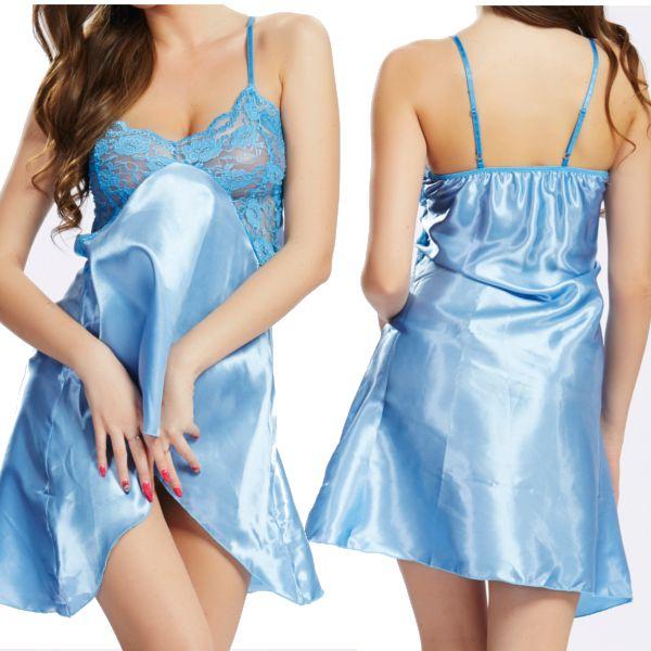 Women Sexy Satin Spaghetti Strap Sleepwear Deep V Hollow Lace Nightdress