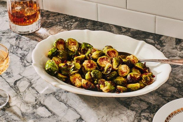 Roasted Brussels Sprouts with Garlic and Pancetta recipe | Epicurious.com   – recipes