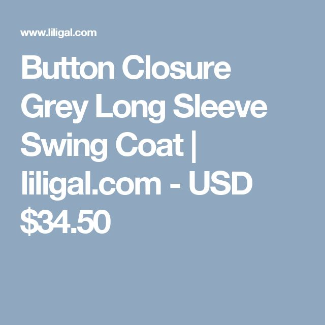 Button Closure Grey Long Sleeve Swing Coat  | liligal.com - USD $34.50