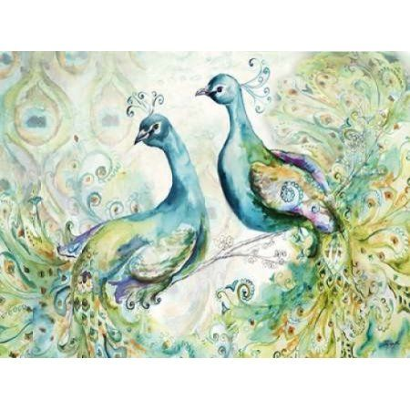 Bohemian Peacocks Landscape Canvas Art - Tre Sorelle Studios (22 x 28)