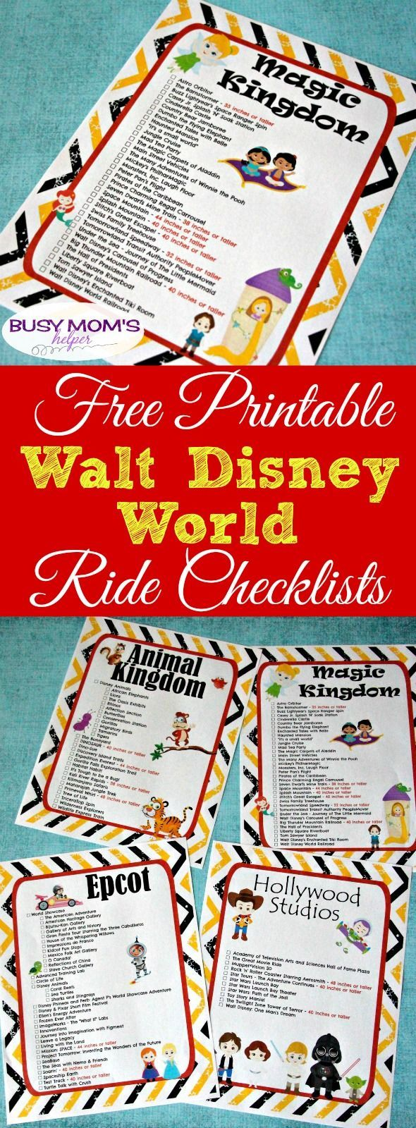 Free Printable Walt Disney World Ride Checklists