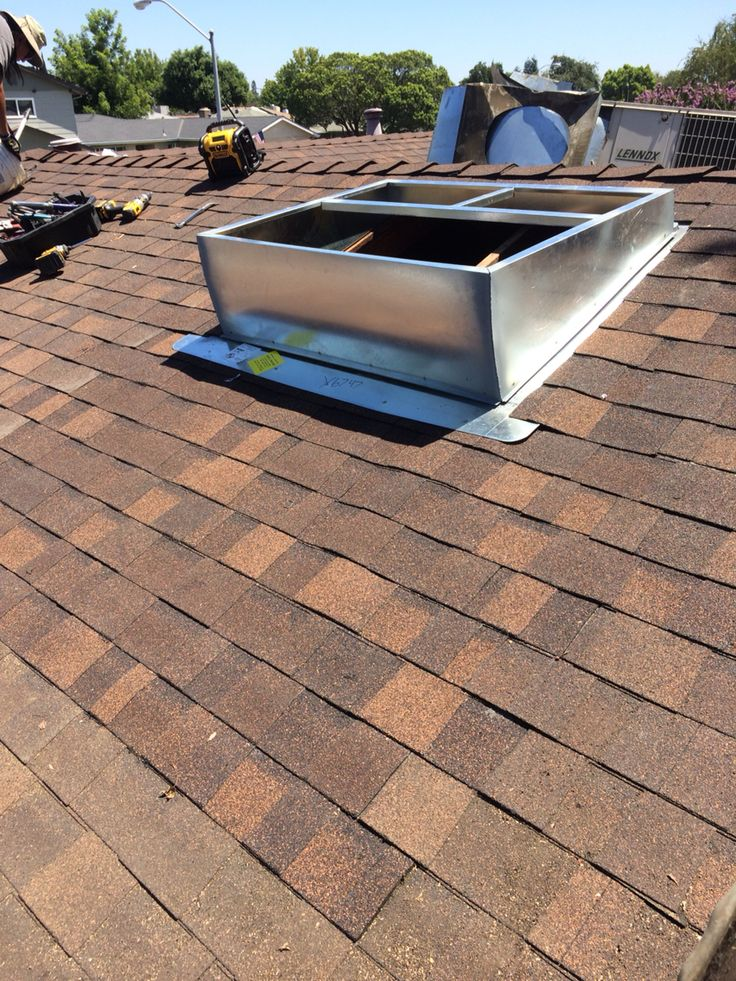 Roof Repair Around New A/c Curb. 30 Year Roofing Shingles Bark Brown.