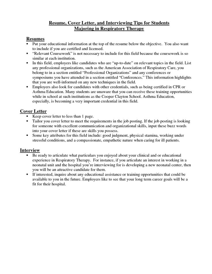 respiratory therapist cover letter resume cover letter and interviewing tips for students majoring respiratory therapists pinterest cover letter