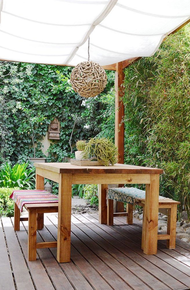 Outdoor Wood Table And Benches Rustic Boho Terrace Decor