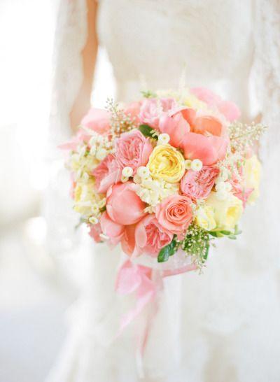 Pinks and yellows make the perfect summer bouquet: http://www.stylemepretty.com/little-black-book-blog/2014/11/17/fresh-romantic-leesburg-wedding/ | Photography: Abby Jiu - http://www.abbyjiu.com/