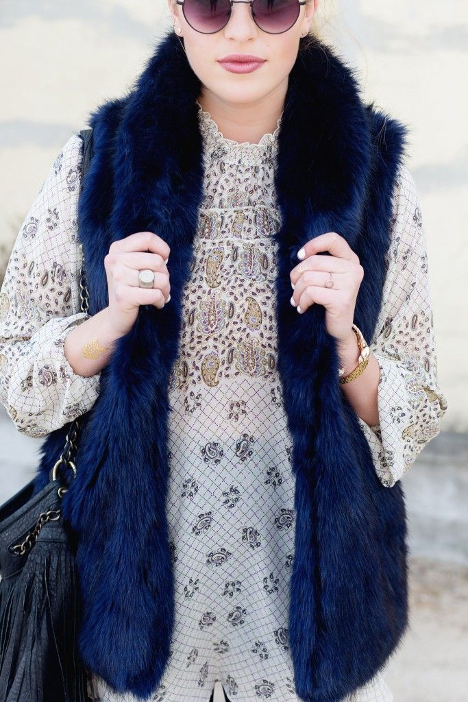 Navy Fur Vest & Boho Tunic Dress, Flashback to Last Year's Perfect Cold-Weather Combo | Hustle + Halcyon