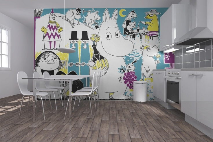 Moomin wallpaper in the kitchen