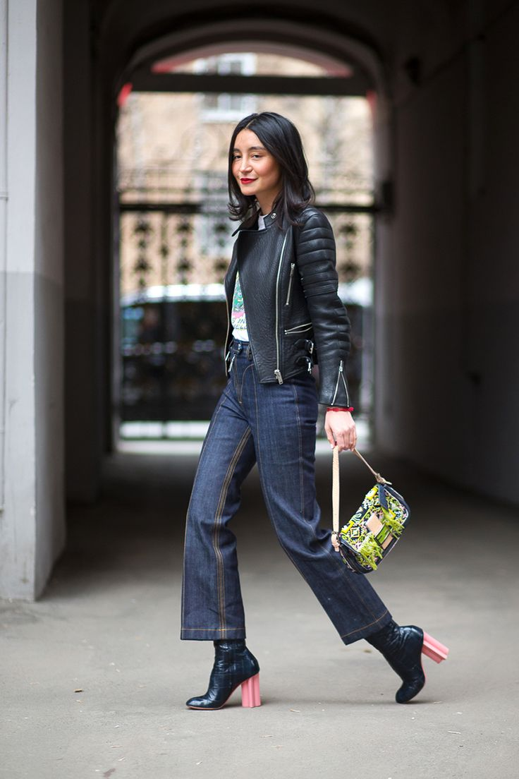 Check Out Her Lv Denim And Boots Azizaazim In Moscow Street Style Pinterest Inspiration