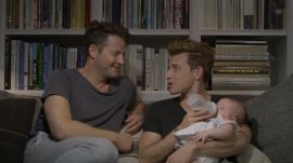 Nate Berkus and Jeremiah Brent with their daughter, Poppy