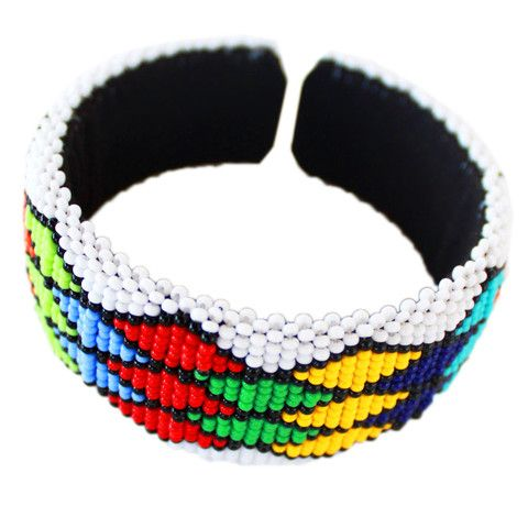 White Zulu beaded bangle