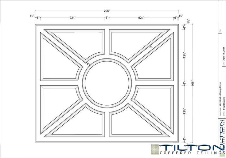 Coffered Ceiling Design Drawing - Bespoke 39