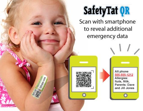 Thought this was an interesting idea...temporary tattoo in case your child gets lost? Repin from Easter Seals Florida Inc.