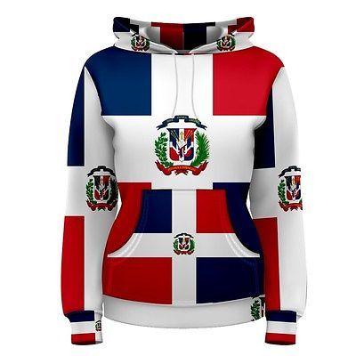 Dominican Republic Flag Sublimated Women's Hoodie S,M,L,XL,2XL,3XL