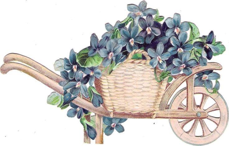 Oblaten Glanzbild scrap die cut  chromo  Blumenkarre  13,8 cm  Veilchen violet