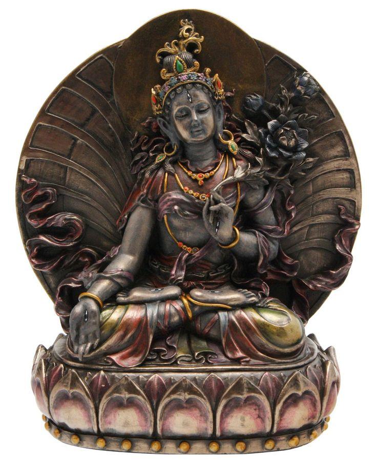 Cold Cast Bronze White Tara Statue - 10 inches high
