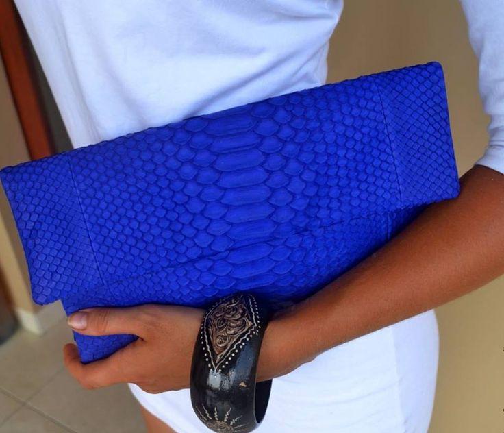 ELECTRIC BLUE clutch. Genuine python  £200