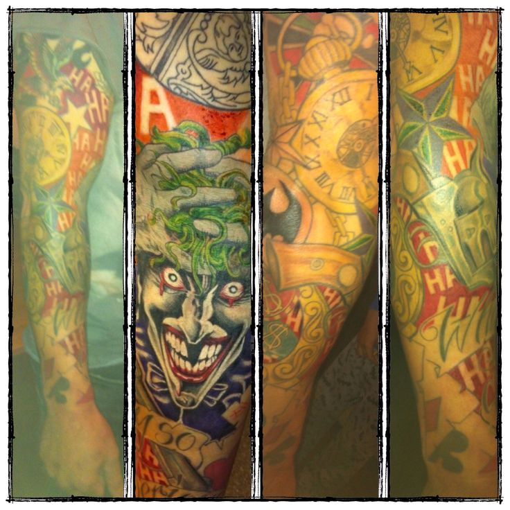 My gambling / joker sleeve tattoo. Done by Ben jones of