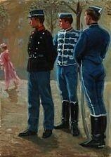 Erik Henningsen Tre soldater og en kvinde klædt i pink. 82.5x60cm