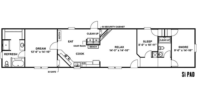 si pad 76 39 mobile home floor plans pinterest. Black Bedroom Furniture Sets. Home Design Ideas