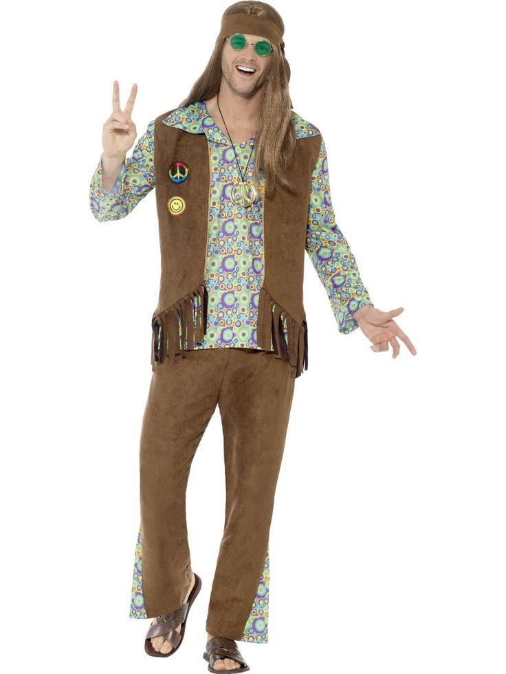 60-luvun miesten hippiasu. Asuun kuuluu aikakauteen kuuluva liivi, päänauha ja koru.