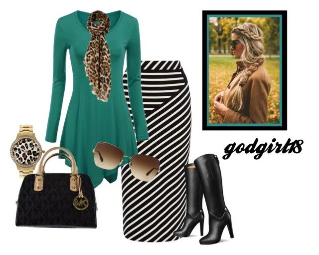 Leopard and Stripes by godgirl18 on Polyvore featuring polyvore, fashion, style, Karen Millen, Michael Kors, Bulgari and clothing
