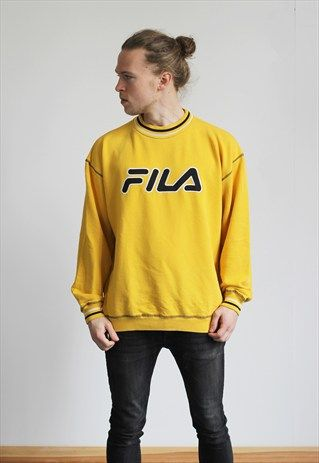 fila yellow top. vintage fila sweatshirt yellow top