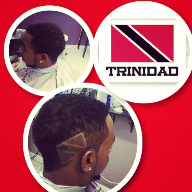 Mohawk with Trinidad and Tobago flag.