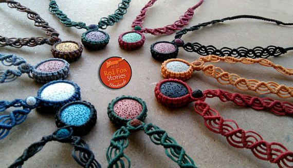 Colorful macrame necklaces with lava stones macrame necklace