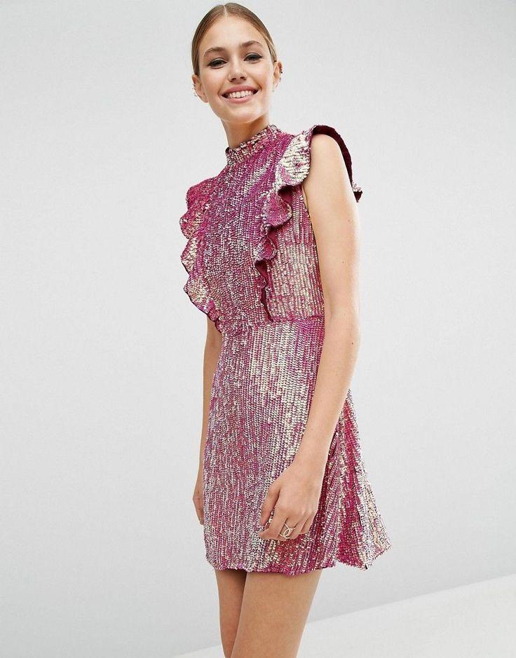 ASOS Sequin Frill Mini Dress