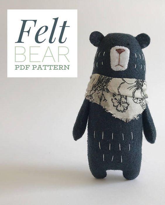 Bear Sewing PATTERN, Teddy Bear pattern, PDF Pattern, Felt Animals, Woodland Ani… – filz