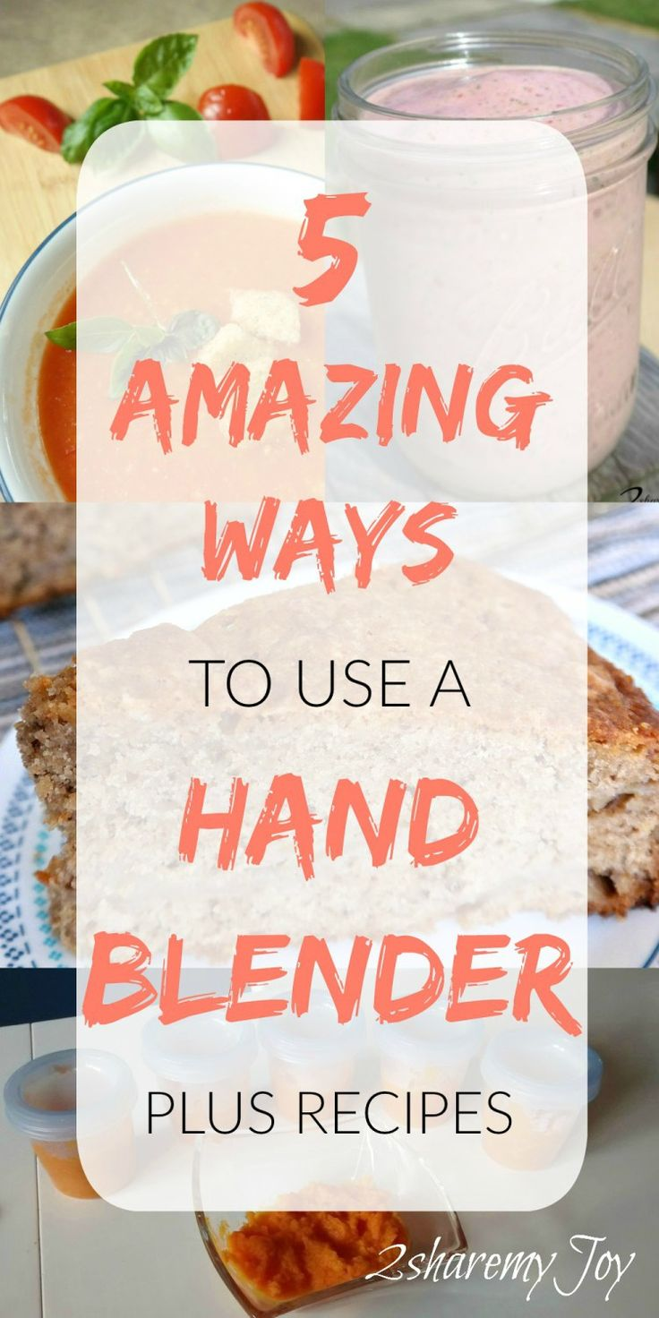 FIVE amazing ways to use a hand blender. Comes with recipes where you can use your immersion blender like smoothie recipes, soups, baby purees and even dough. Use the hand blender for guacamole, salsa dip sauces and dressings. Click through to read this product review for more info.