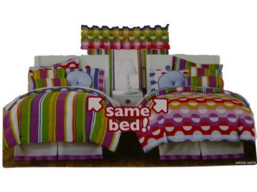 Little Miss Matched Twin Bed in a Bag Dots & Stripes Comforter Set Sheets 8 pc by Little Miss Matched. $109.99. You will love this bed in a bag set with dots and stripes in pink, orange, yellow, green and blue.  Set your room apart with this Little Miss Matched White Zany set! The reversible comforter gives you a choise of a bold stripe pattern or fun half moon dot on the reverse. The sheets are a white background with coordinating dot pattern that is flippable to a fun...
