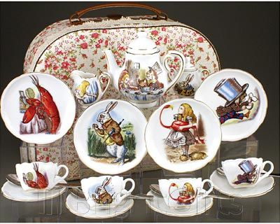 Alice in Wonderland Tea Set brightgifts.co.uk. Love the vintage illustrations right out of the book