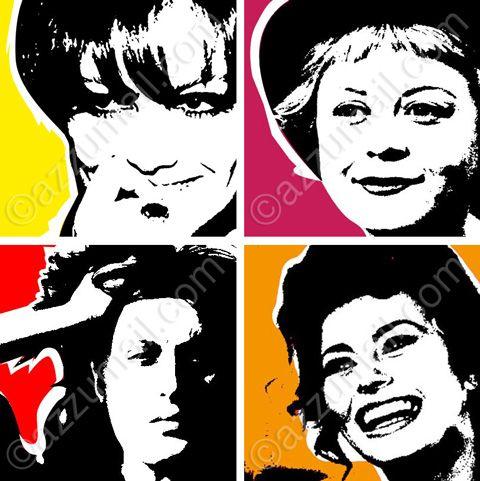 4-opere-tele-attrici-italiane-donne-del-cinema-sofia-loren-giulietta-masina-claudia-cardinale-anna-magnani-pop-art-quadri-aredamento-moderno-arte-quadri-arredamento-popart-moderni-ritratto-ritratti