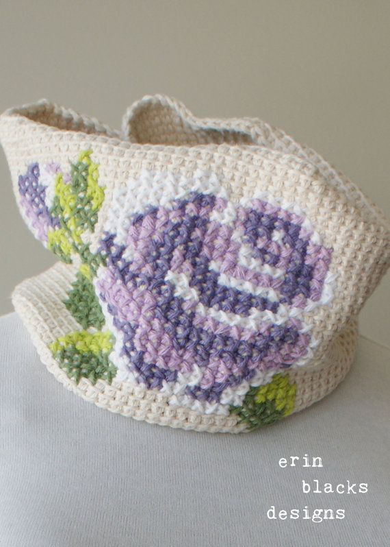 "DIY Tunisian Crochet PATTERN - Cotton Rose Bloom Cowl (8"" x 24"" circumference) (tunisian005)"