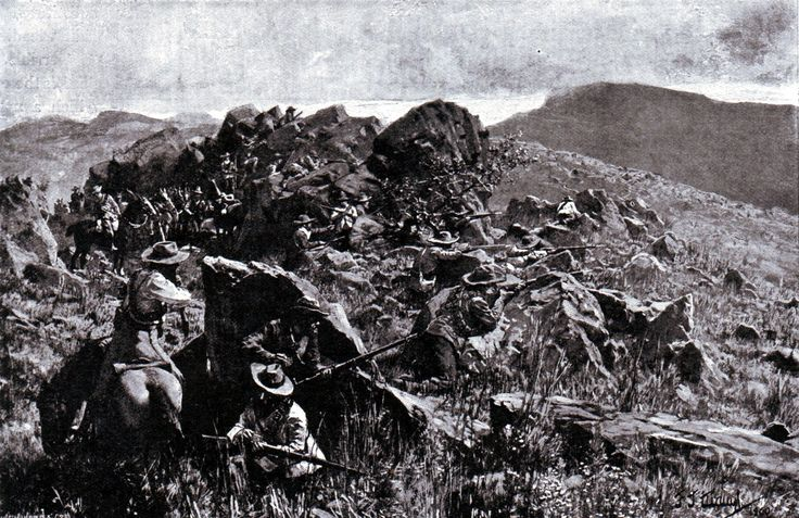 Boers in position on a mountain as at the Battle of Stormberg on 9th December 1899