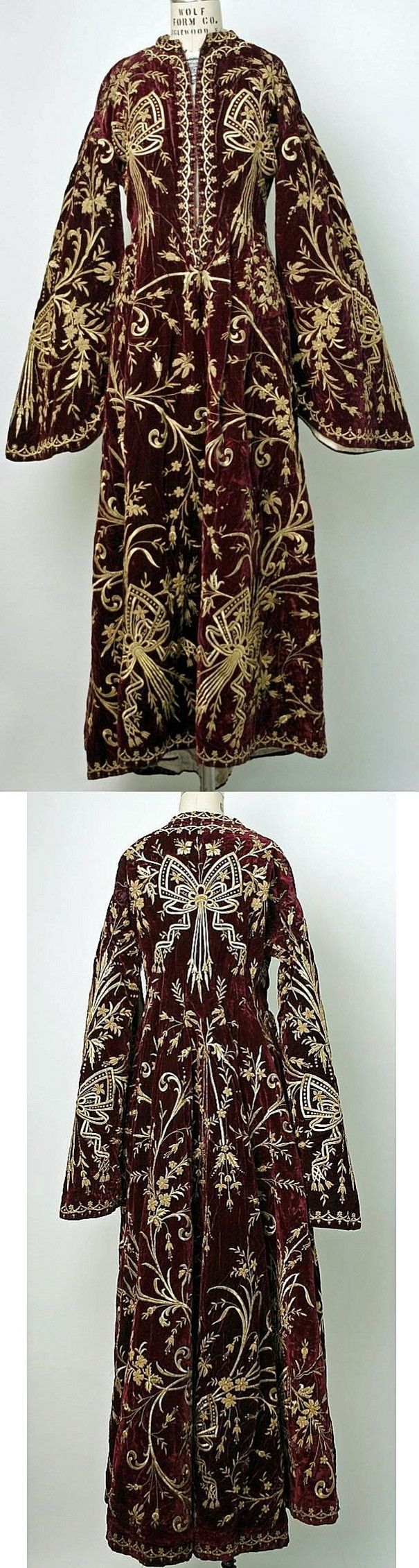 Turkish woman's robe. Late-Ottoman, urban fashion, mid-19th century. 'Goldwork' embroidery on velvet. (Met Museum, N.Y.).