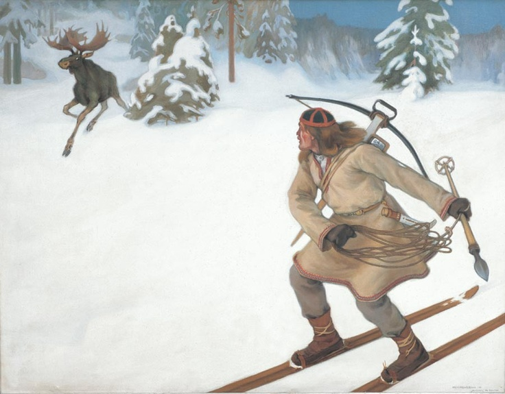 Kalevala  Lemminkäinen ja hiiden hirvi  Väinö Hämäläinen  1902 oil