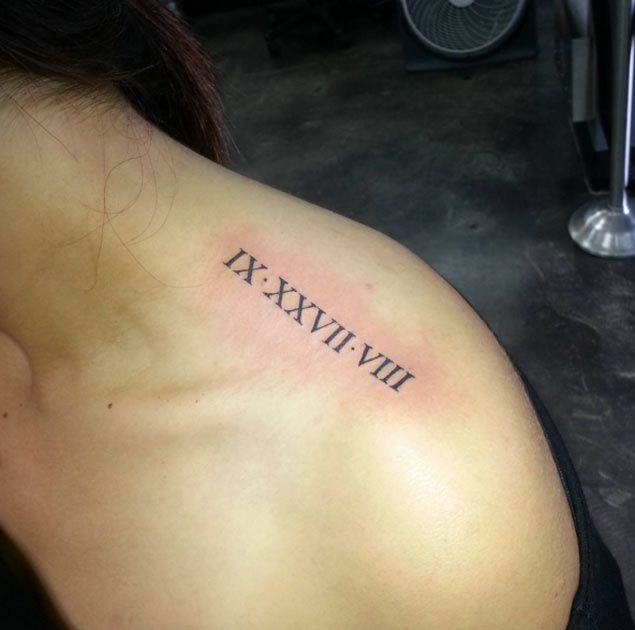 Roman Numeral Tattoo Design on Shoulder by Dakas Victor