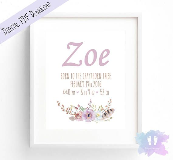 Boho Feathers & Flowers Birth Announcement Wall Art  Birth