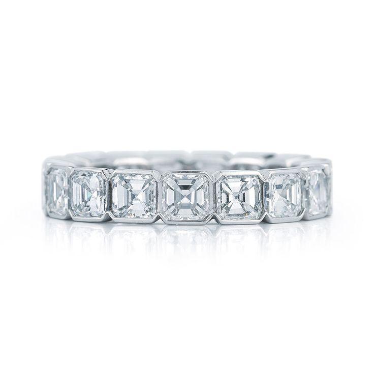 Asscher cut diamond ring in a half bezel ring in platinum each diamond weighs 0.20 carats