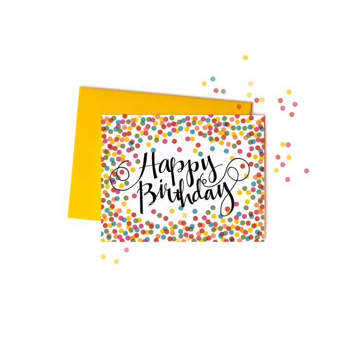 Konfetti zum Geburtstagskarten mit handschriftliche Typografie, Boxed Set Grußkarten von anopensketchbook auf Etsy https://www.etsy.com/de/listing/123538008/konfetti-zum-geburtstagskarten-mit