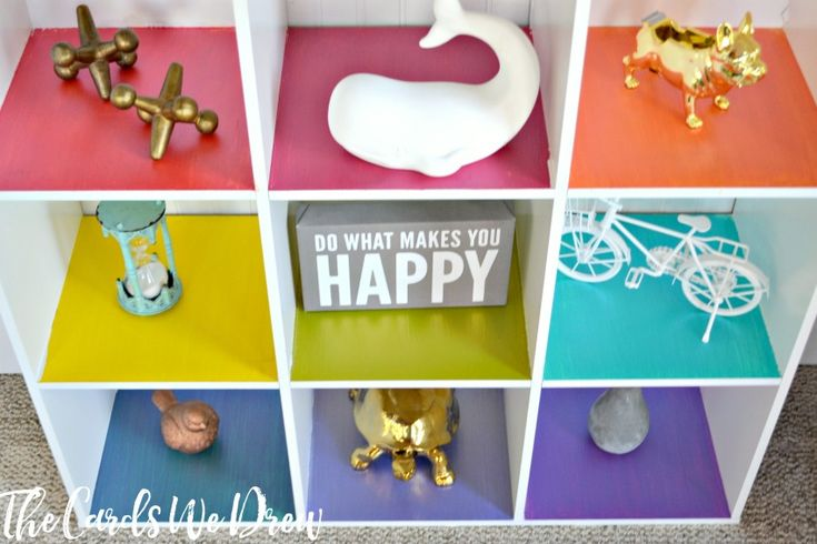 Spruce up the traditional kids toy cubbies with this fun Rainbow Cubby Toy Organizer from The Cards We Drew.