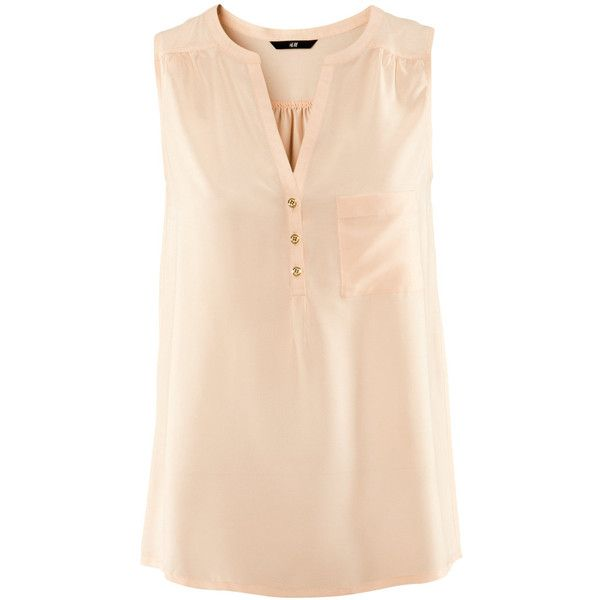H&M Blouse ($7.32) ❤ liked on Polyvore featuring tops, blouses, shirts, h&m, sleeveless tops, women, beige blouse, chiffon blouse, chiffon shirt and chiffon sleeveless top