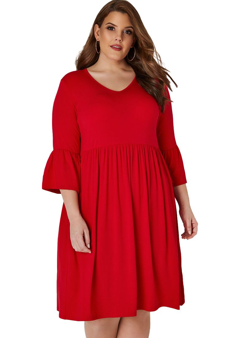 Red Flute Sleeves Plus Size Jersey Dress 1