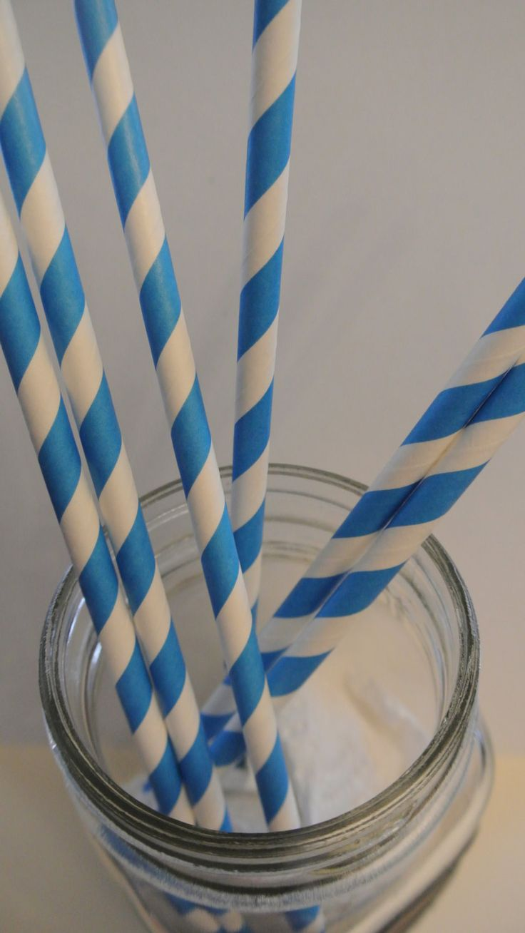 Blue Straws. 20CT. By Paper Rabbit. Ready to ship in 1-3 days by PaperRabbit87 on Etsy